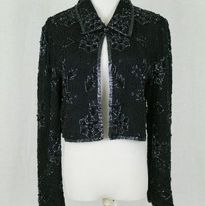 Papell Boutique Beaded Silk Jacket